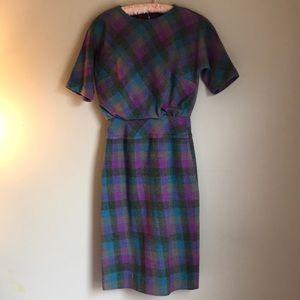 Vintage plaid wool like dress
